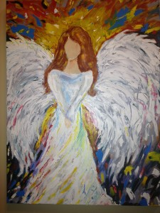 Christmas Angel, I painted to decorate my foyer! (not my closet)